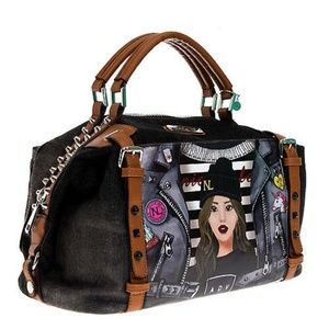NICOLE LEE DENIM GRAPHIC BOSTON BAG